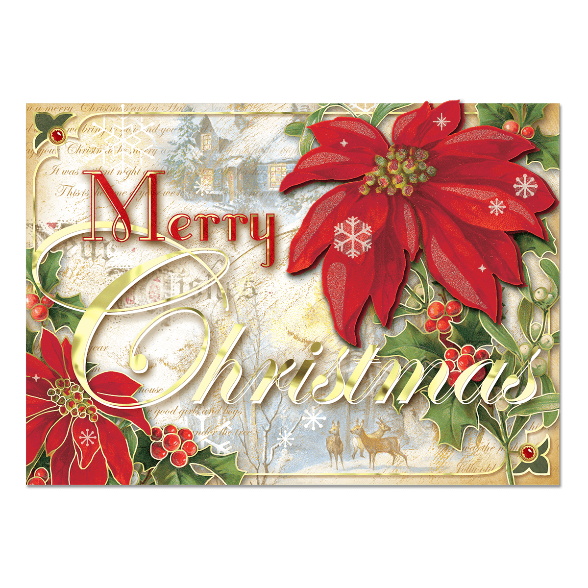 Christmas Poinsettia Boxed Holiday Cards | Punch Studio
