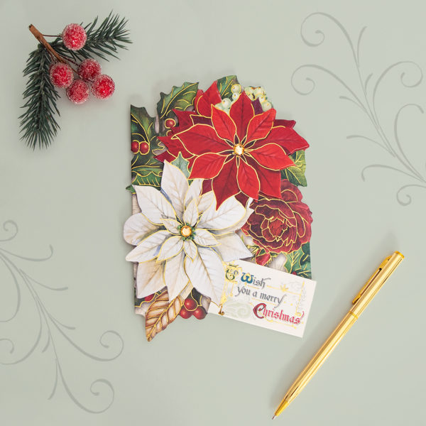 christmas poinsettia boxed holiday cards
