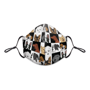 Dog Grid Reusable 3-Layer Cotton Face Mask Product