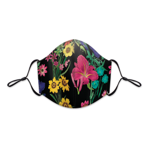 Black Botanical Floral Reusable 3-Layer Cotton Face Mask Product